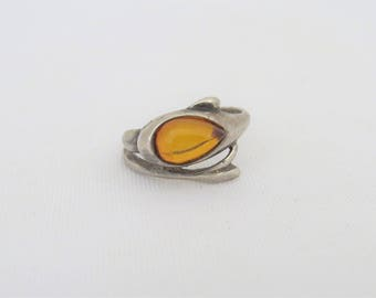 Vintage Sterling Silver Baltic Amber Dolphin Ring Size 7.5