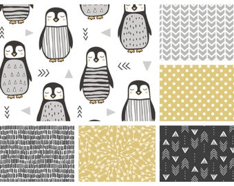 Reserved - Gender Neutral MINI Crib Bedding - Penguin Minky Blanket , Crib Skirt & Sheet in Grey, Black and Gold (Yellow)