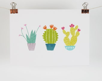 Trio of cute cacti plants contemporary print A5 size