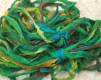 "Hand dyed chiffon silk ribbon 1/2 to 1"" wide 5 yds scrapbooking journaling embellishment yarn quilting spinning knitting mixed media"