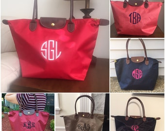 Navy Blue Monogram Tote Bag - Nylon -  Monogram Tote Bag -  Faux Leather Handles
