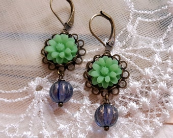 Czech glass Peridot green chrysanthemum floral dangling earrings Retro chic valentines gift Spring jewelry