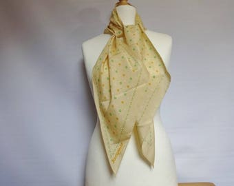 "Pretty Vintage Yellow Floral Mod scarf 21cm x 152cm 8.2"" x 59.8"""