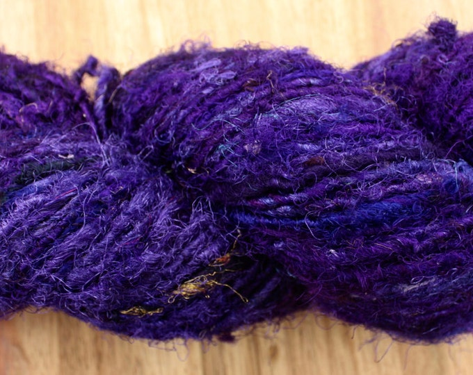 25% OFF Sale***Recycled Sari Silk Yarn - Inky Purple with flecks gold thread