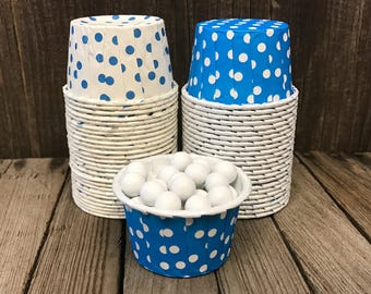 48 Blue Polka Dot Candy Cups-- Blue and White Nut Cups--Birthday Party-- Pool Party--Picnic-- Mini Muffins--Paper Party Goods