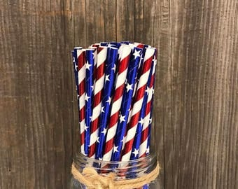 100 Red, White and Blue Stars and Stripes Foil Paper Straws- Patriotic Party Supplies- 4th of July Celebration Party Goods- Foil Straws