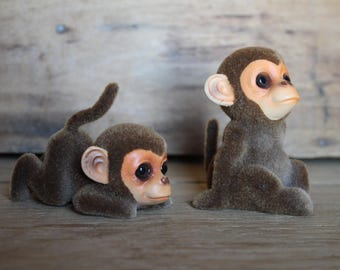 Josef Original Japan Flocked Fuzzy Monkey Pair with Original Foil Label