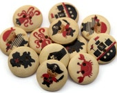 15 Pirate Buttons 15mm - Round Painted Buttons - Pirate Ship Buttons - Natural Wood Button - Boys Button - Nautical Print - PW420