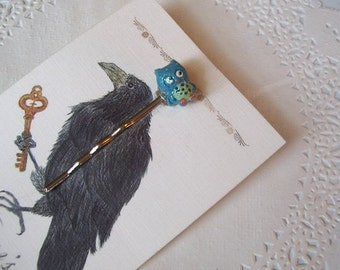 Owl Hair Pin (310) - Owl Bobby Pin - Owl jewelry - Jeweled Hair pin - Recycled Jewelry