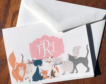 Charismatic Cat Personalized Folded Note Cards, Monogram Stationery Set, Monogrammed Stationery, Personalized mothers days gifts ideas