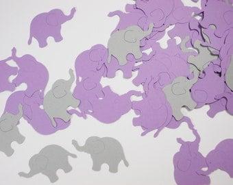 "Elephant Confetti Party Decoration, Girl Birthday Party Decor, Baby Shower, Lavender Purple & Gray Elephant Cutouts, 1.5"",  200 Ct."