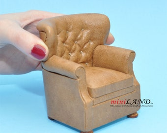 English Armchair for dollhouse miniature 1:12 scale Brown living room