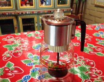 Vintage mid century modern Cory glass stove top percolator