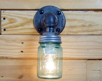 Vintage 1 Pint Ball Mason Jar Wall Sconce Light Black Iron Industrial Steampunk Style
