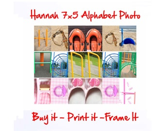 Hannah 7x5 Printable - Personalized Alphabet Photo Wall Art Download