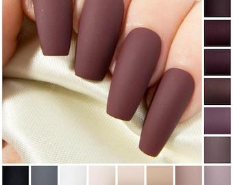 Matte Coffin Fake Nails - Nude Press On Nails - Burgundy False Nails - Neutral Coloured Acrylic Nails - Long Black Artificial Nail Set