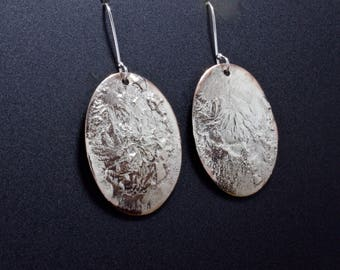 Sterling Silver Over Copper Earrings, Organic Drop Earring, Oval Dangle Earring, Unique Texture Mixed Metal Jewelry