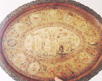 Vintage Astrological/Chinese Horoscope Brass Tray
