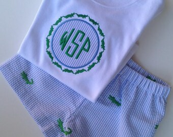 Boy's Alligator Monogrammed Shirt, Seersucker Shorts, or Shorts Outfit