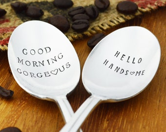 Good Morning Gorgeous Hello Handsome Hand Stamped Coffee Spoon Gift Set • Stamped Silverware • Housewarming Idea for Couples • Wedding Gift