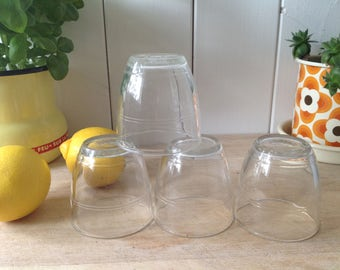 Vintage French School Glasses made by Duralex France, very good condition- Selling as x 2 sets of 4