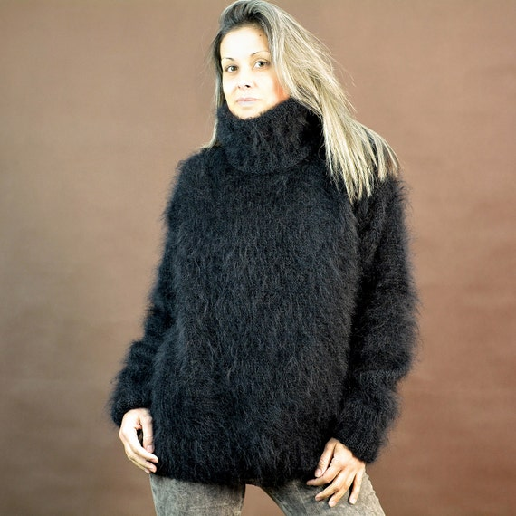 466a7eb05c28b0 chic New Hand Knit Mohair Sweater BLACK Fuzzy by EXTRAVAGANTZA on Etsy
