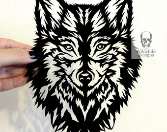 Sapphire Wolf Paper Cutting Template for Personal or Commercial Use Head Face Gothic Wildchild Designs Spirit Guide Dire Wolf Canis Lupus