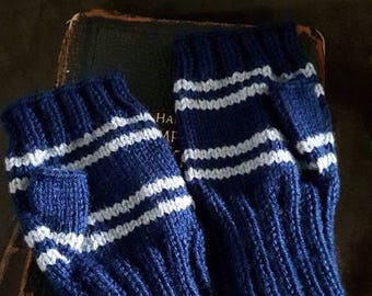 Ravenclaw House colors wrist warmers (large) - fingerless gloves - Harry Potter