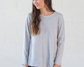 Organic Cotton Grey Long Sleeve Top - Geranium Long Sleeve