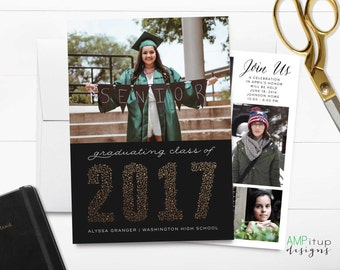 Confetti Class of 2017 - Graduation Announcement - Faux Gold Foil - High School Graduation - College Graduation - Black and Gold - Graduate