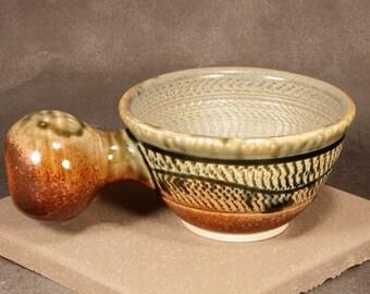 Shaving Mug, Porcelain Blend, Chattered, Carved, Brown with Green Ash Glaze