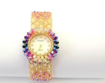 montre Femme Watches for women, women beaded luxury unique crystal swarovski bracelet ladies womens beadwork watch, Korean Jewelry