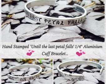 """Hand Stamped 'Petal Falls 1/4"""" Aluminium Cuff Bracelet, Beauty and the Beast, Inspirational, Fairytale, Stamped Metal, Stamped Jewellery"""