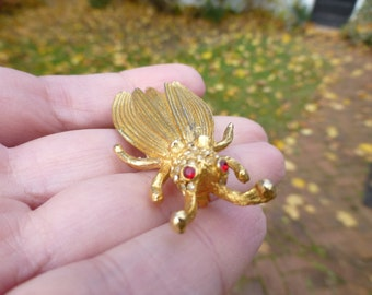 Neat Vintage Art Deco Gold Filled Bug Brooch, Cicada, Unique Insect Pin, Circa 1950s, Wow!