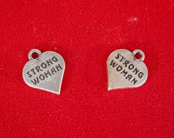 """5pc """"Strong woman"""" charms in antique silver style (BC1232)"""