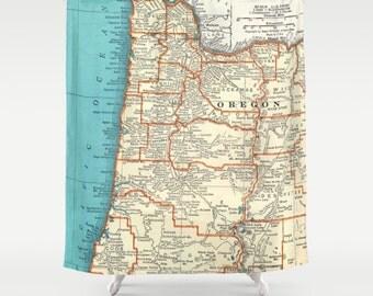 Oregon Coast Map Shower Curtain - Portland, Oregon, State map, teal, pacific ocean Bathroom - surfer, beach, decor
