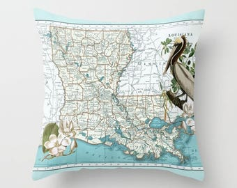 Louisiana Map Throw Pillow - Pelican and Magnolia - retro - New Orleans Gulf Coast, decor, travel,  Louisiana Pride
