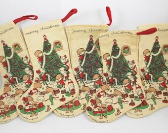 Vintage Joan Walsh Anglund Small Christmas Stocking, Vintage Christmas Decor