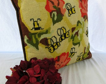 Vintage Needlepoint Throw Pillow Honey Bees Cottage Chic Decor