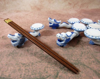 Vintage Ceramic Chopstick Knife Rest Chinoiserrie Dragon Set of 6