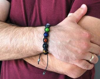7 Chakras Bracelet men . Onyx bracelet men. Chakras bracelet. Men's Gemstone Shamballa Beaded Bracelet  Natural Stone Bracelet  Gift for Him