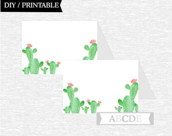 Instant Download Cactus Tented Food Labels Birthday party Baby shower DIY Printable (CAC001)