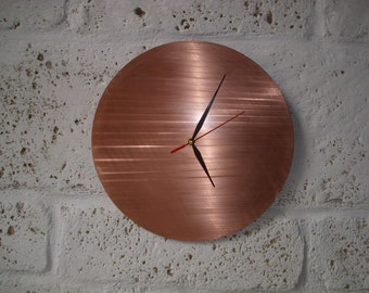 "Precious 9"" Wall clock on natural handcrafted copper disk"