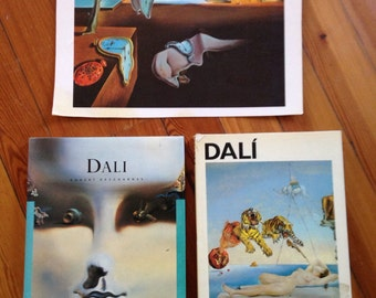salvador dali collection of 2 art books and one print , persistence of memory (1931) print from the 70s