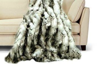Luxurious Faux Fur Throw Blanket  - White , Black  & Gray Exotic Rabbit - Backed with Minky Cuddle Fur - Fur Accents Original Designs USA