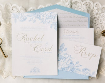 Airy Floral Wedding Invitation in White & Light Blue with Gold Accents, Bible Verse Envelope Liner, Detaiks Insert and RSVP (OTHER COLORS)