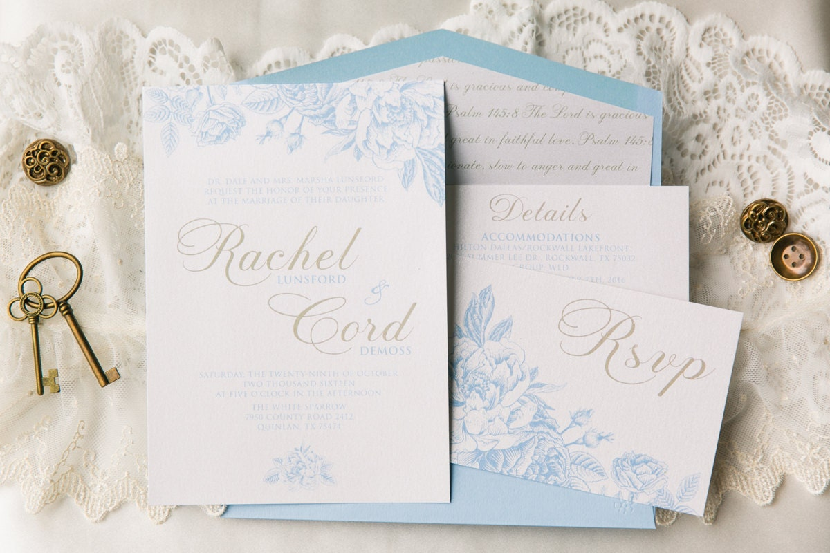 Gold And Blue Wedding Invitations: Airy Floral Wedding Invitation In White & Light Blue With