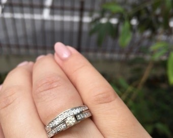 Bridal Set - 14K White Gold Engagement Ring and Wedding Band with Diamond Stones Style # L4923