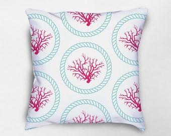 coral pillow coral throw pillows nautical pillows nautical pillow covers beach house - Coral Decorative Pillows