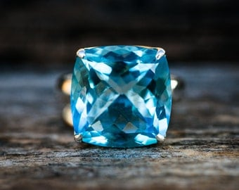 Blue Topaz Ring 8.25 - Swiss Blue Topaz Ring 8.25 -Swiss Blue Topaz Jewelry - December Birthstone - Swiss Blue Topaz Ring - Baby Swiss Ring